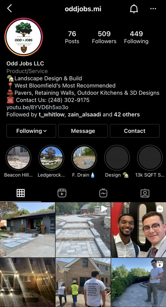 Instagram Page for Odd Jobs LLC in West Bloomfield